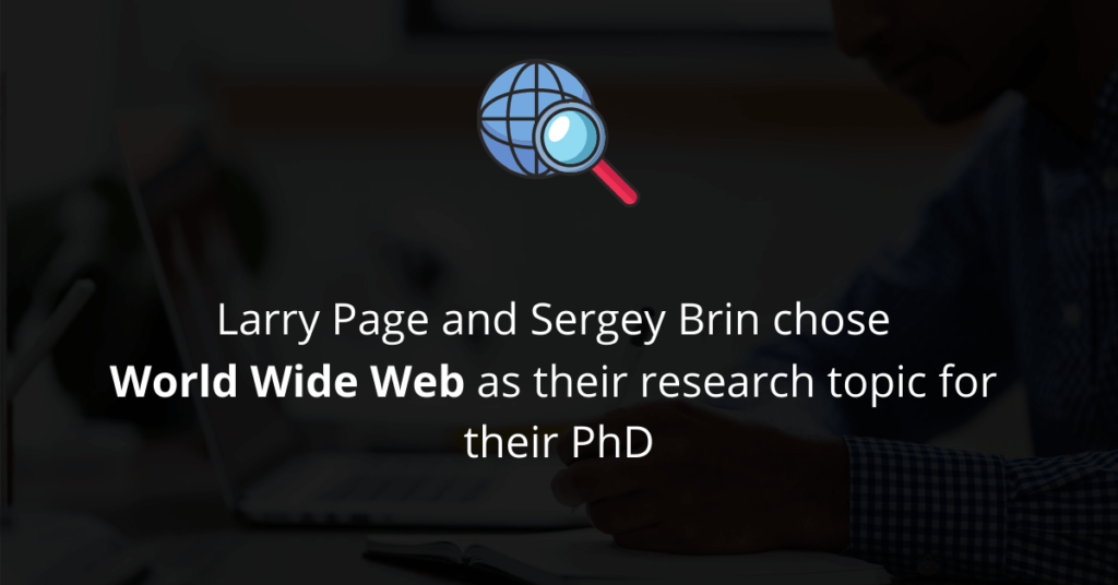 Larry Page and Sergey Brin chose World Wide Web for research