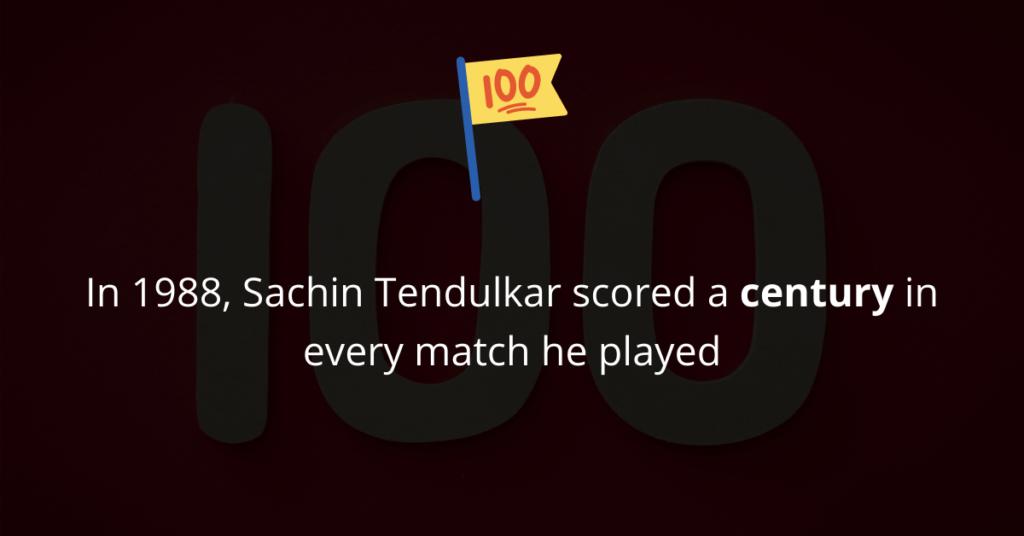 In 1988, Sachin Tendulkar scored a century in every match he played
