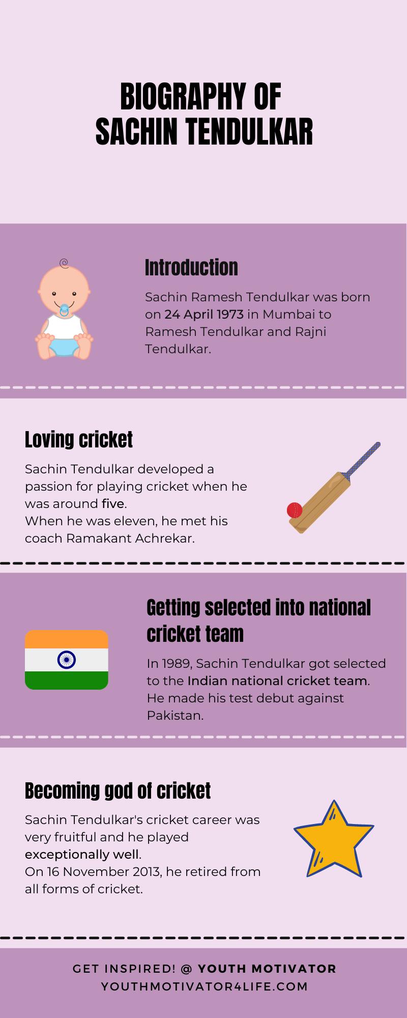 An infographic on biography of Sachin Tendulkar