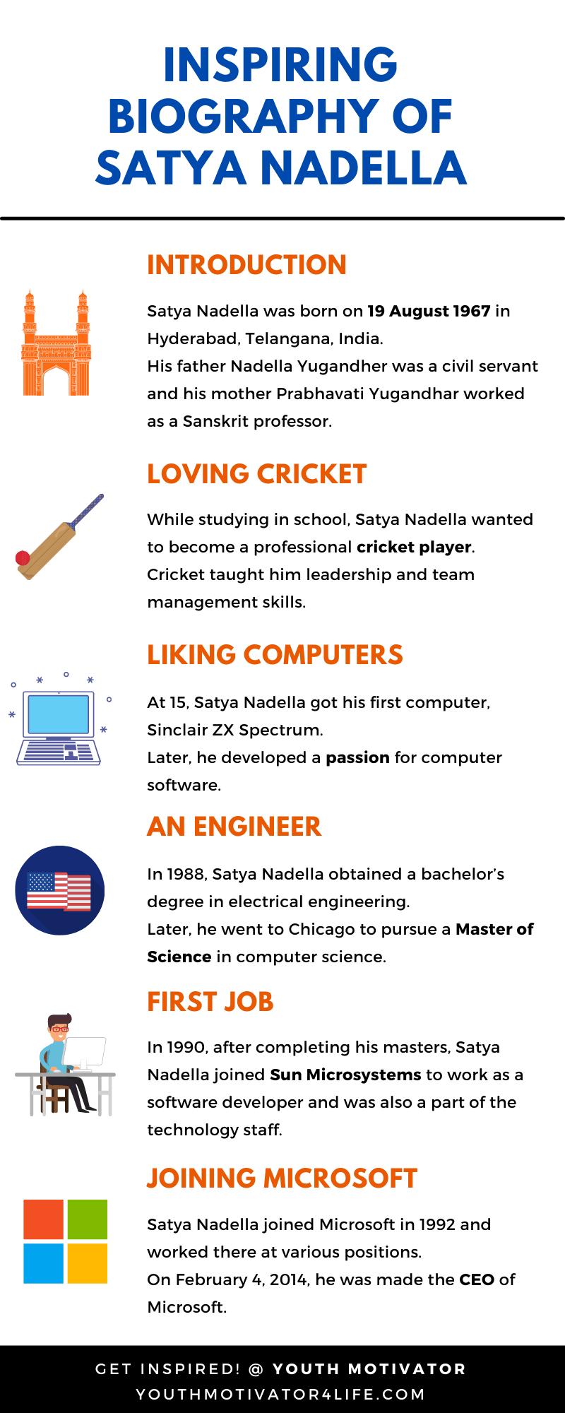 An infographic on biography of Satya Nadella