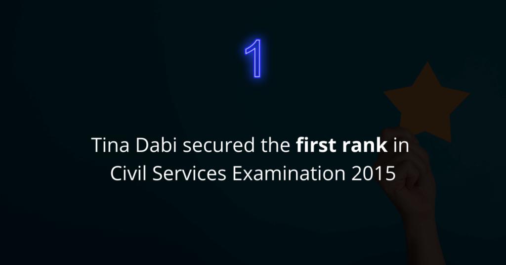 Tina Dabi secured the first rank